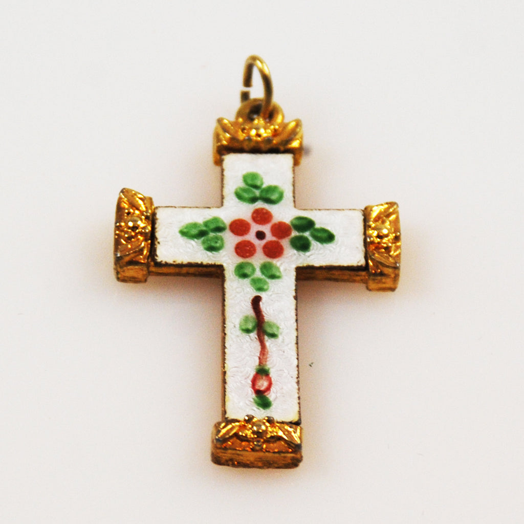 Guilloché Enamel Gold Cross Vintage