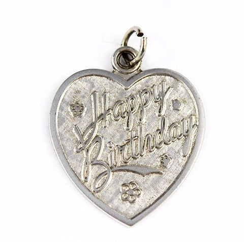 Vintage Sterling Silver Happy Birthday Heart Charm
