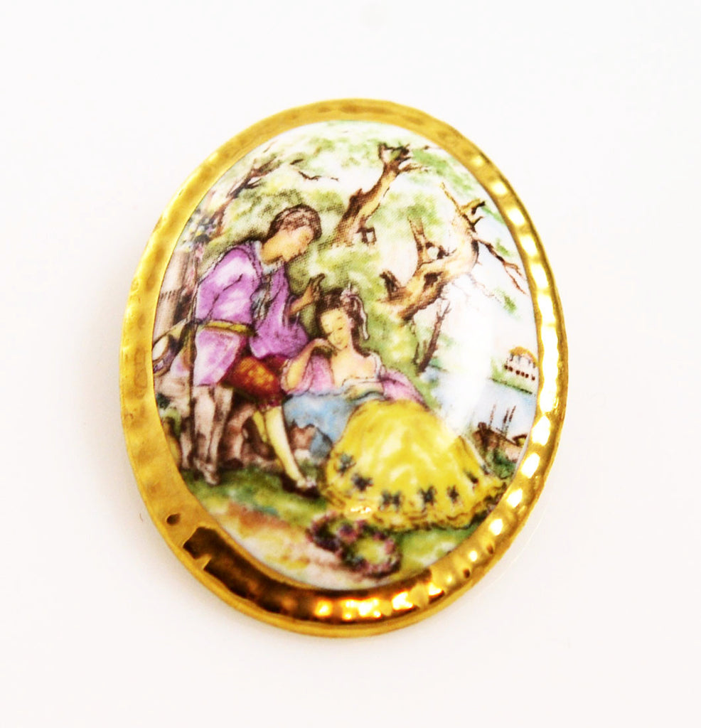 Harleigh Fine China Painted Brooch English