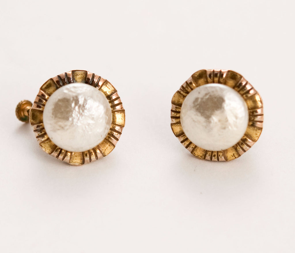 Miriam Haskell Pearl and Gold Earrings Clip On