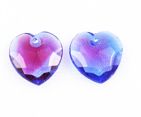 Glass Heart Pendants-Blue & Red Western Germany