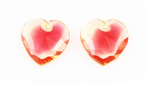 Glass Heart Pendants-yellow & Red Western Germany