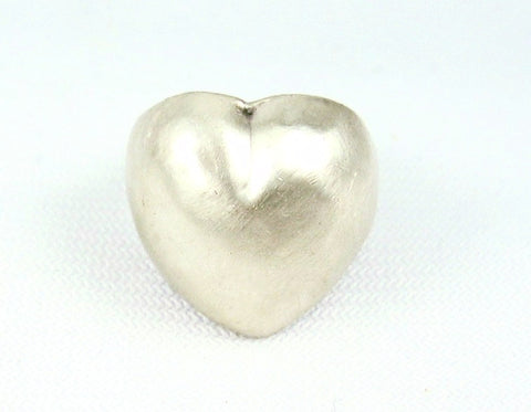 Brushed Silver Domed Heart Ring 6