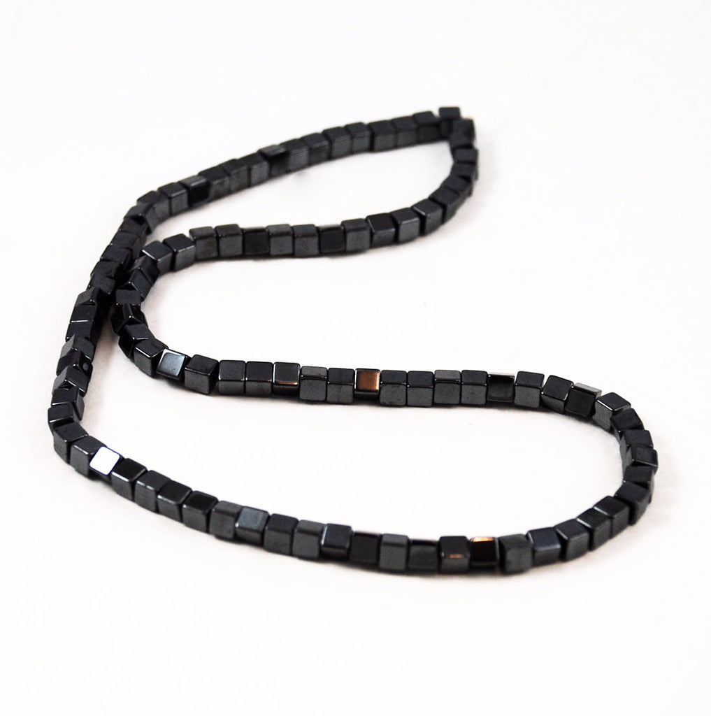 Hematite Cube Beads 4 x 4mm Strands