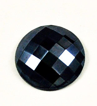 Large Faceted Black Hematite Glass Cabochon Western Germany