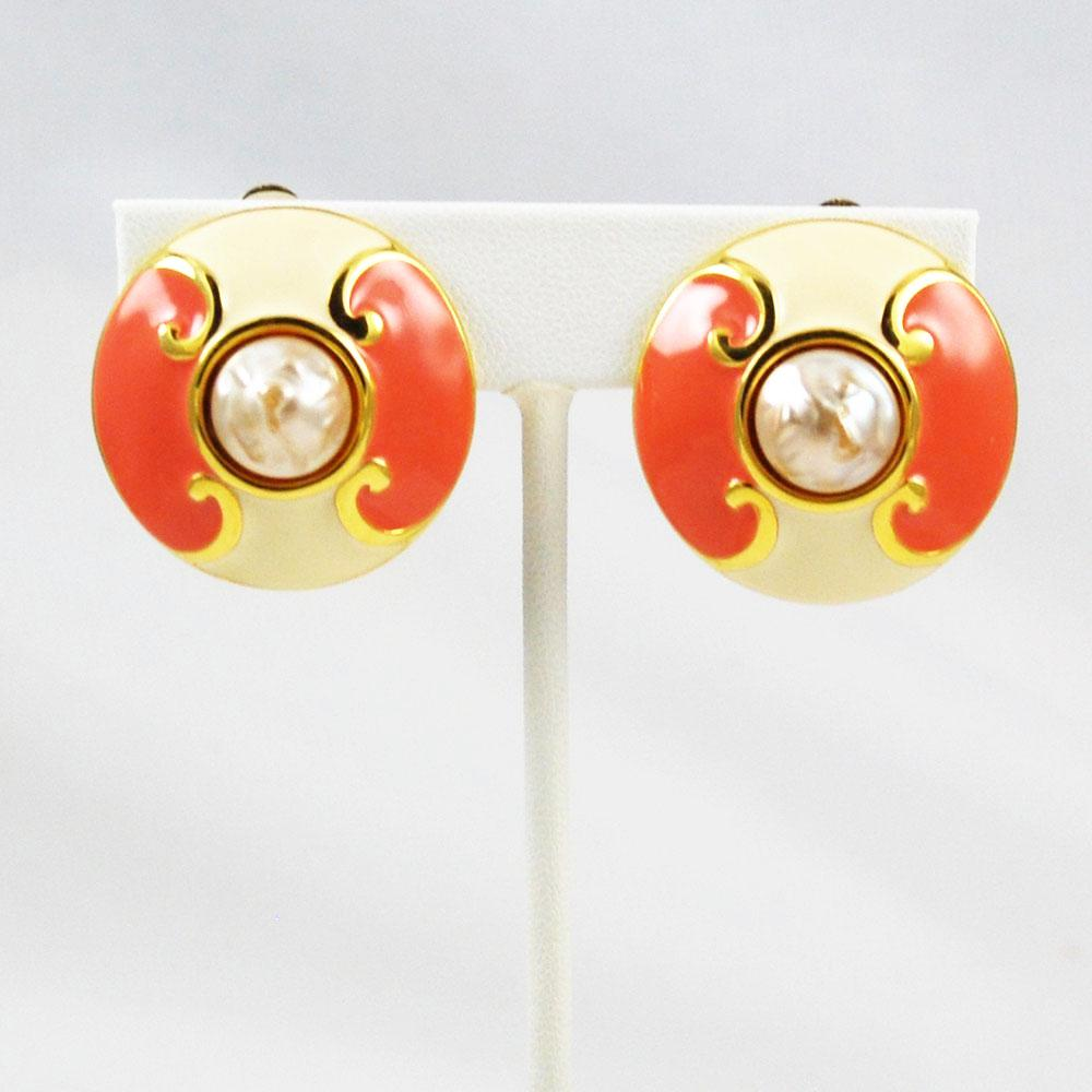 Carolina Herrera Coral Enamel Earrings Clip Ons