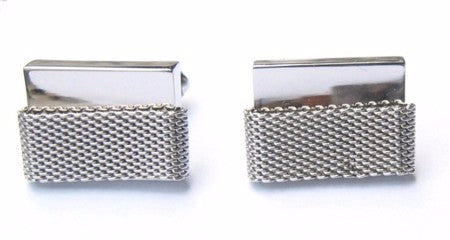 Hickok cuff links in a modern silver tone design