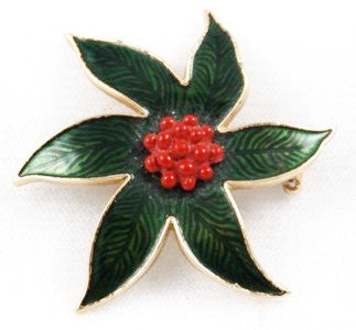 Green & Red Holly Brooch Vintage Floral Holiday