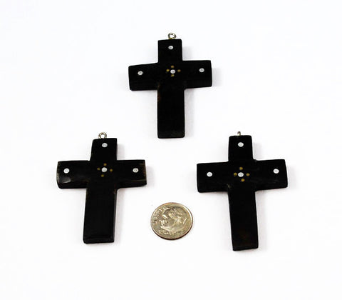 Black Cross Pendant with silver inlay - Natural Buffalo Horn