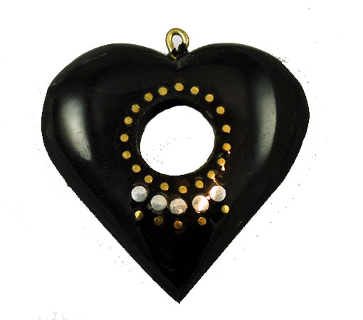 Black Horn Open Heart Pendants With silver Inlays Vintage