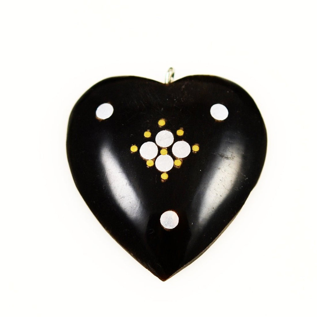 Black Horn Heart Pendants Vintage