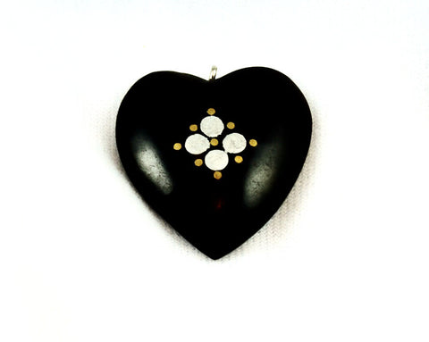 Black Horn Heart Pendants With silver Inlays
