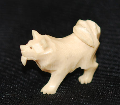 Antique Ivory Husky Dog Pendant