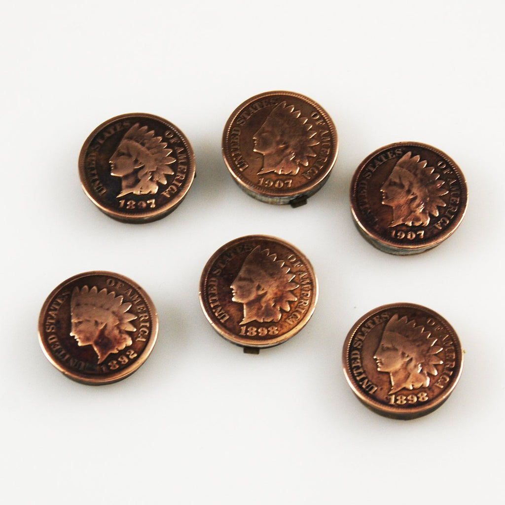 Vintage Indian Head Penny Button Covers