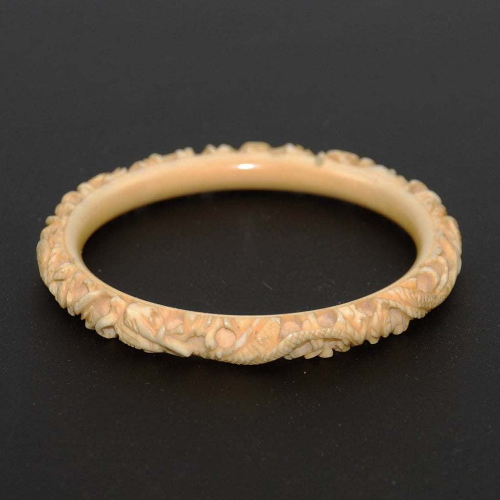 Antique Carved Ivory Bangle Bracelet