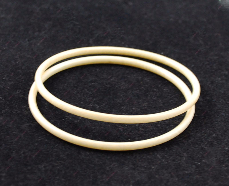 Pair of Thin Vintage Ivory Bangle Bracelets Pre Ban