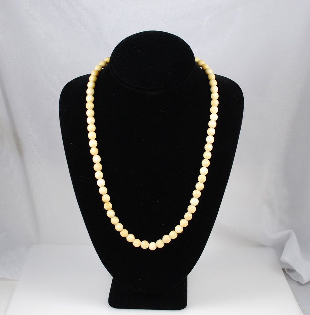 Ivory Bead Necklace 8mm Antique
