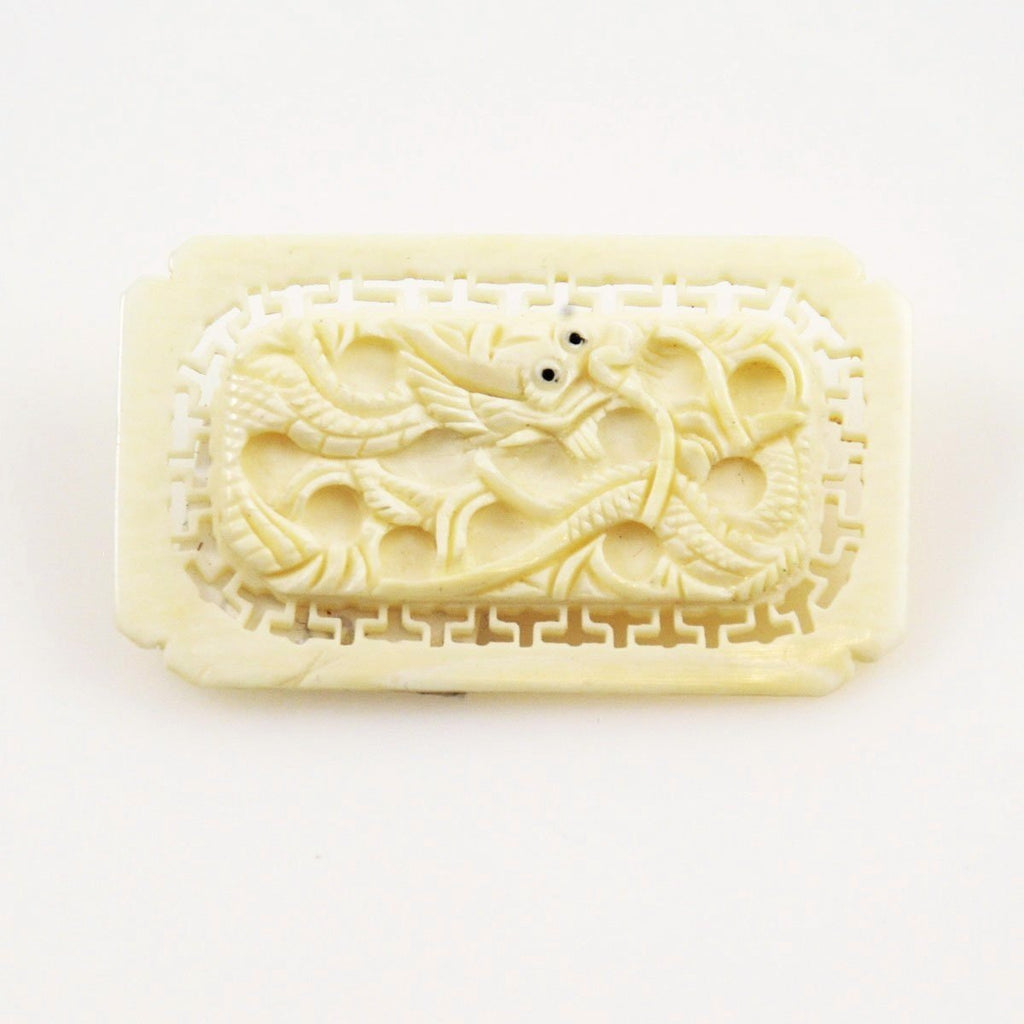 Chinese Ivory Serpent or Dragon Brooch