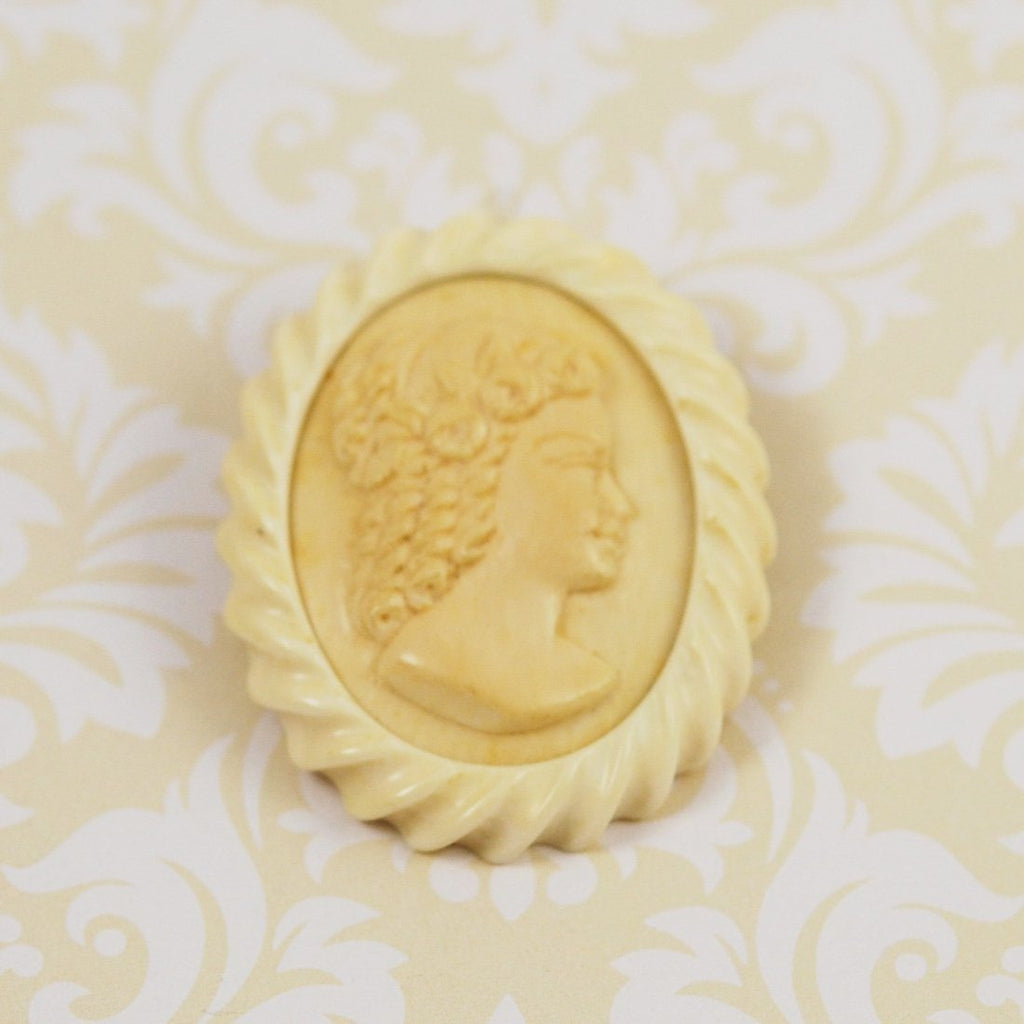 Antique Ivory & Celluloid Cameo Brooch