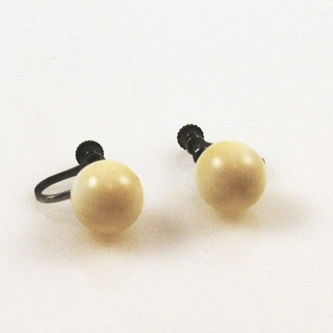 Antique Ivory Screw Back Earrings