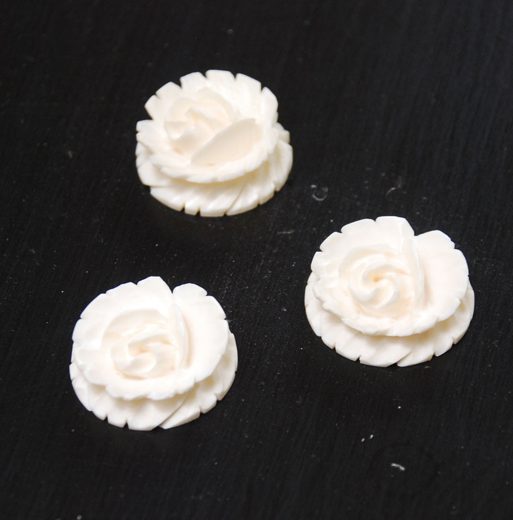 Carved Ivory Flat Back Flowers Vintage 23mm
