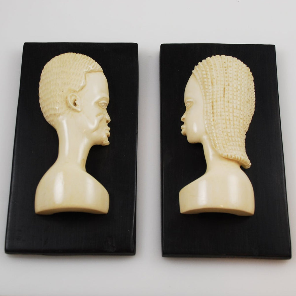 Pair of African Carved Ivory Profile Plaques