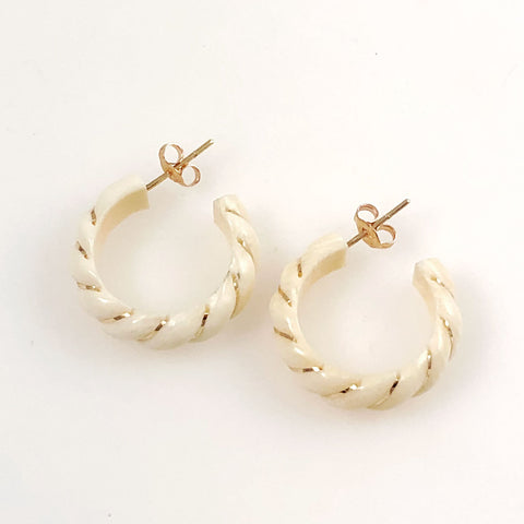 Ivory hoop earrings