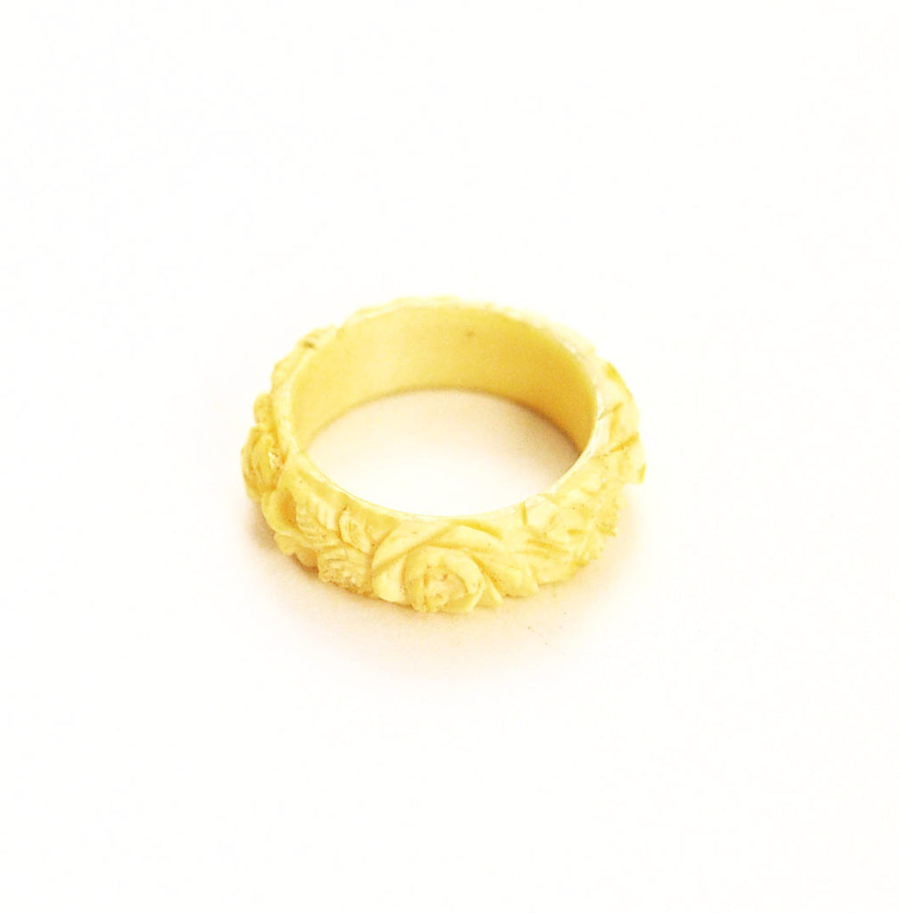 Antique Ivory Carved Floral Ring 6 ½ Victorian