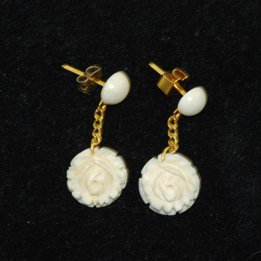 Ivory Carved Rose Gold Earrings