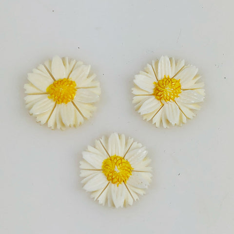 VIntage carved daisy cabochons