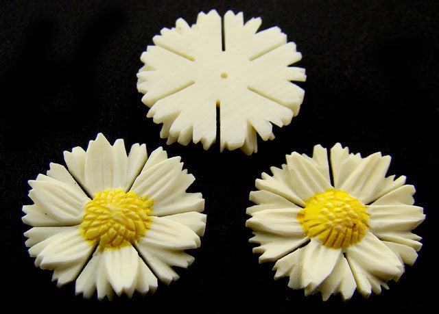 Carved Ivory Flat Back Daisies Vintage
