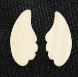 Pair of Ivory Scalloped Pieces-Flat Backs