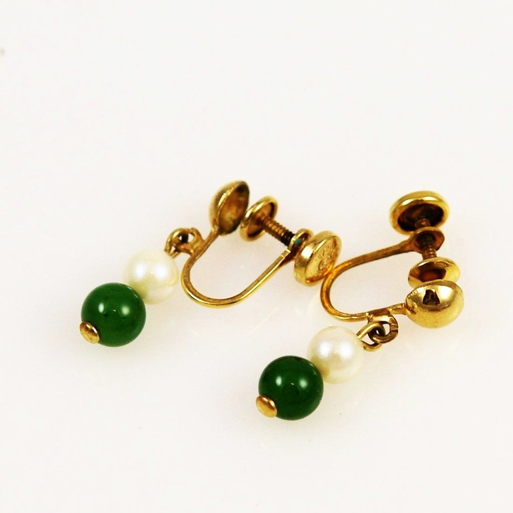 Jade and Pearl Earrings Gold Screwbacks