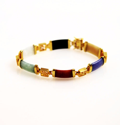 Colorful Jade and Gold Bracelet