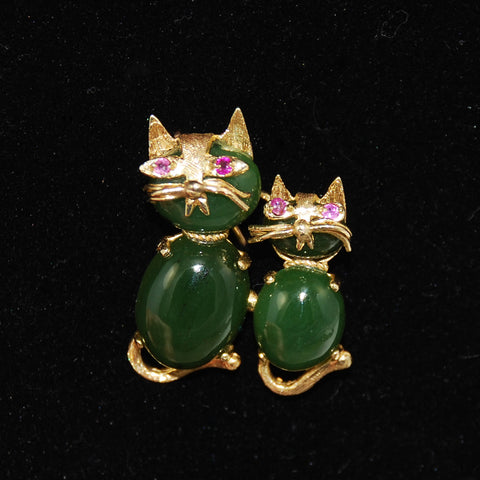Jade and 14K Gold Cat Brooch Vintage