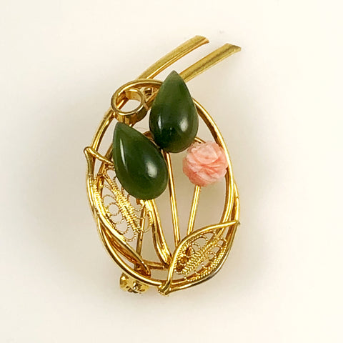 Coral & Jade Gold Brooch
