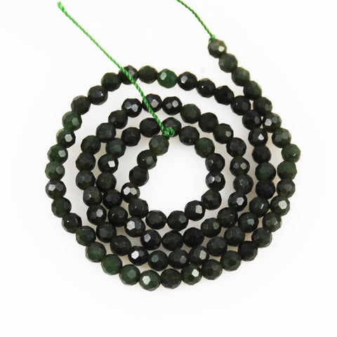 Green Nephrite jade 4mm faceted beads