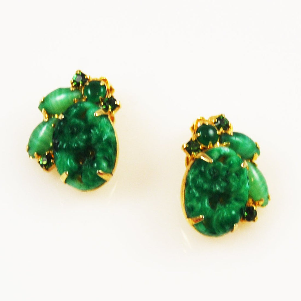 Green Jade & Rhinestone Clip On Earrings