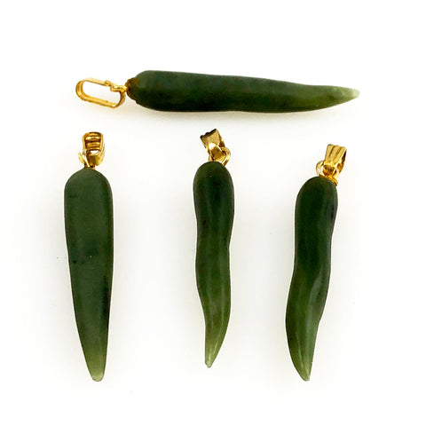 Green Jade Tusk Pendants