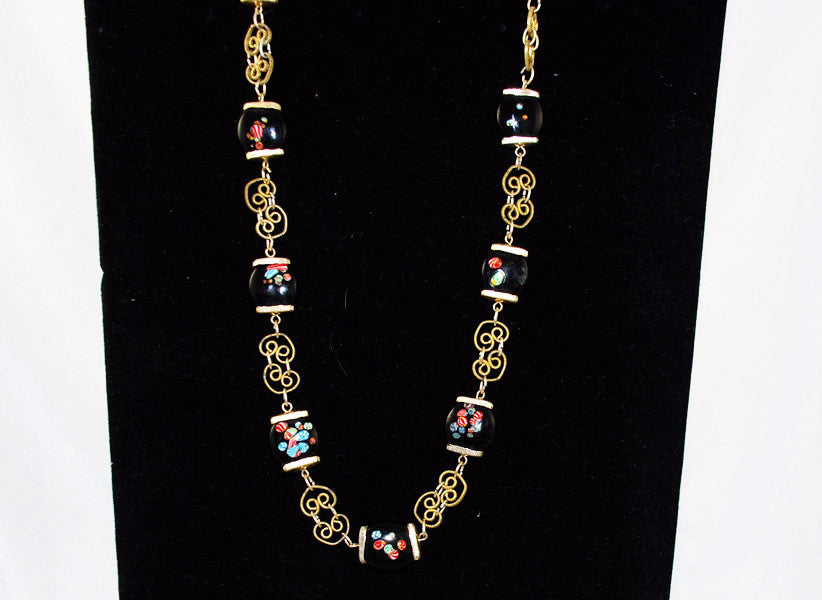 Vintage Japanese Millefiori Bead Necklace and Earring Set