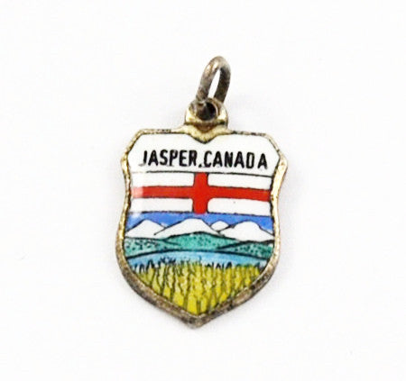 Vintage Jasper, Canada Travel Shield Charm