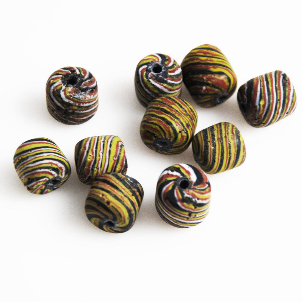 Ancient Indonesian Jatim Striped Bead Replica 14mm