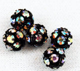 Jet Black Rhinestone Crystal AB Balls 5mm