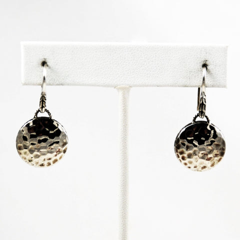 John Hardy Dot Drop Hammered Silver Earrings