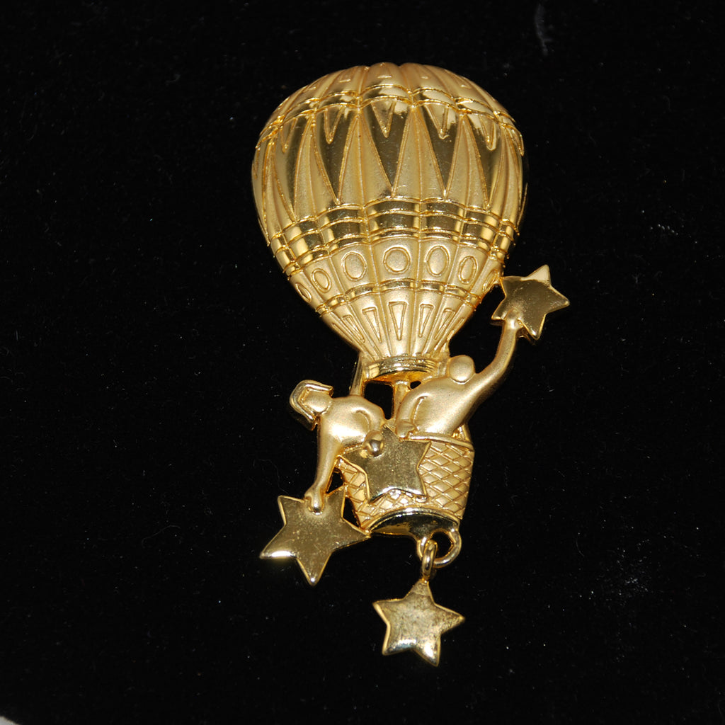 JJ Gold Tone Balloon Brooch Vintage