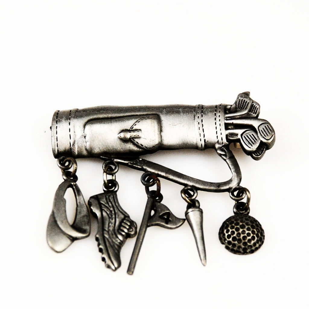 JJ Pewter Golf Charm Brooch Vintage