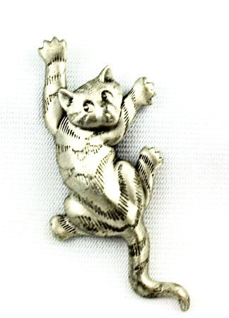 JJ Pewter Cat Brooch Vintage 1988