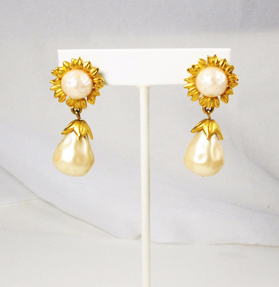 Karl Lagerfeld Pearl and Gold Earrings