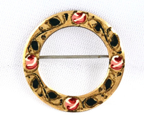 Krementz Painted Holiday Wreath Pin Vintage