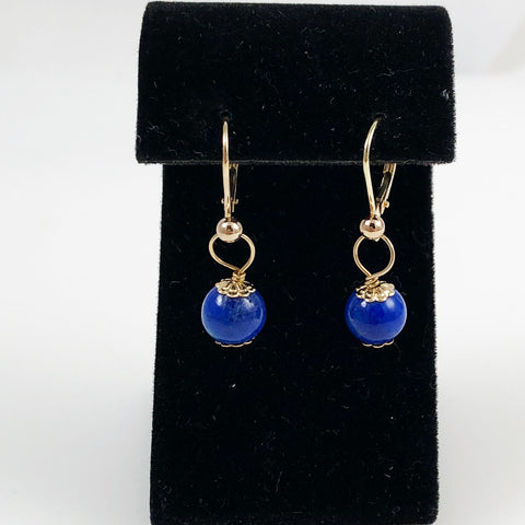 Lapis & 14K Gold Pierced Earrings